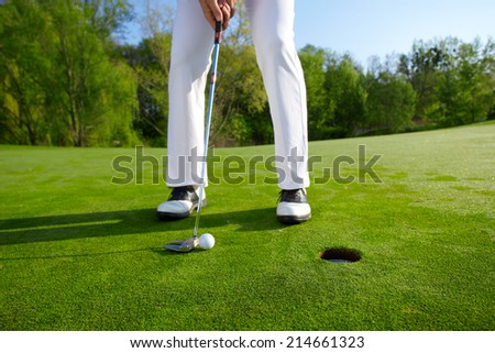 Golfer on the hole - stock photo