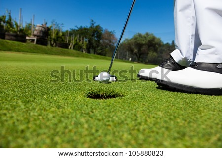 Golfer on the putting green, preparing to put - stock photo