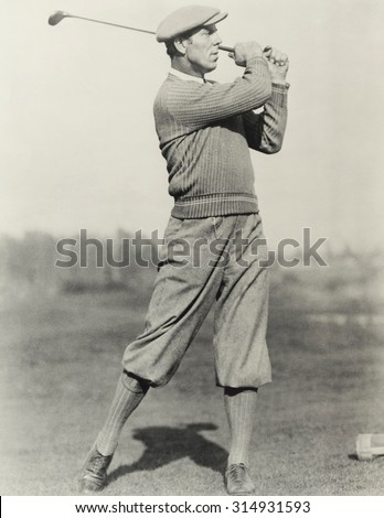 Golfer's stance - stock photo