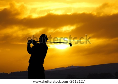 golfer sunset - stock photo