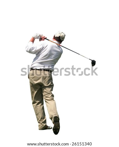 golfer swinging with clipping path - stock photo