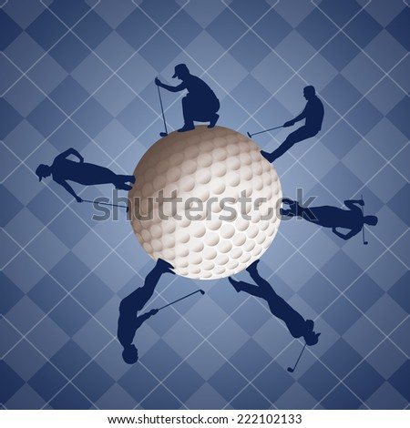 Golfers silhouette on golf ball - stock photo