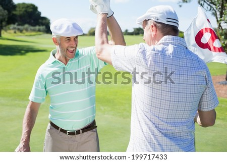 Golfing friends high fiving on the eighteenth hole on a sunny day at the golf course - stock photo