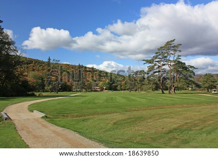 Golfing in New England in Fall - stock photo