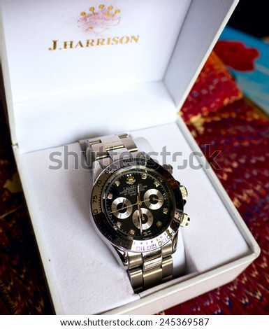 GOMEL, BELARUS - JANUARY 9, 2015: J. HARRISON J.H-014DS wristwatch. J. HARRISON this Japanese watch company. - stock photo