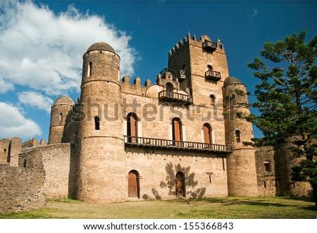 gonder gondar ethiopia royal ethiopian kings castle - stock photo