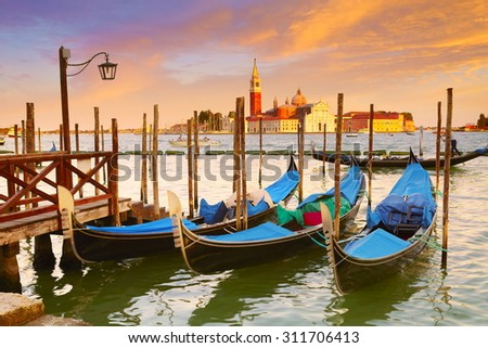 Gondola and San Giorgio Maggiore church, Venice, Italy, UNESCO - stock photo