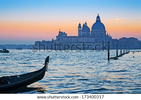 gondola in Venice Grand Canal at sunset - stock photo