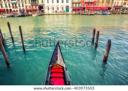 Gondola on Grand canal in Venice, Italy - stock photo