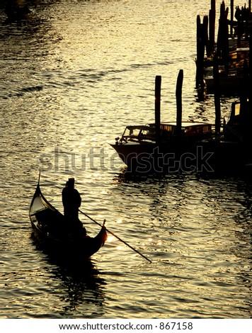 Gondola on the Grand Canal, Venice - stock photo