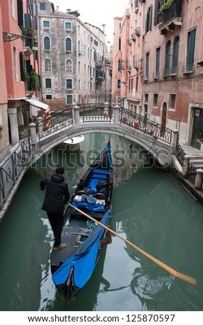 Gondola's in Venice, Italy - stock photo