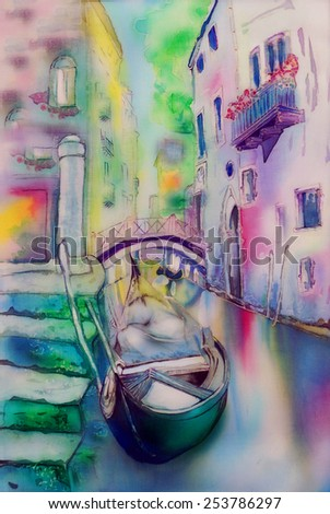 Gondola, Venice, Italy - an original modern batik, painting on silk - stock photo