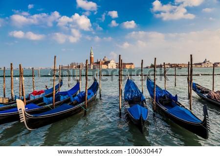 Gondolas and San Giorgio Maggiore Island, Venice, Italy - stock photo