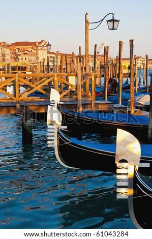 Gondolas at Riva degli Schiavoni street at Venice, Italy - stock photo