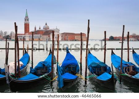 Gondolas in front of San Giorgio Maggiore Island, Venice, italy - stock photo