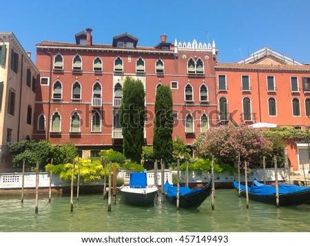 Gondolas in Venice, Italy. - stock photo