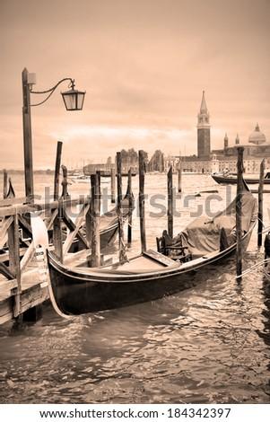 Gondolas in Venice, Italy. Retro style image - stock photo