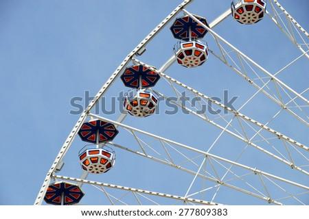 Gondolas of a Ferris Wheel - stock photo
