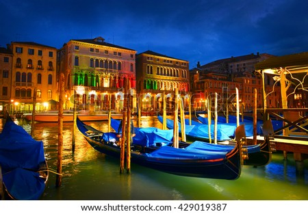Gondolas on Grand Canal in the evening, Venice, Italy - stock photo