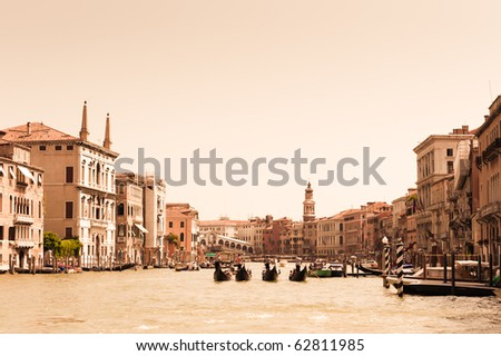 Gondolas on Grand Canal in Venice. Vintage styled photo - stock photo
