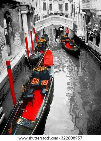 Gondolas on Venice in oil painting style. - stock photo