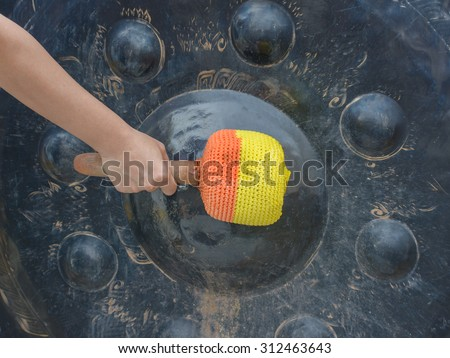 Gong in a Buddhist temple, Gong to pass, Buddhist beliefs. - stock photo