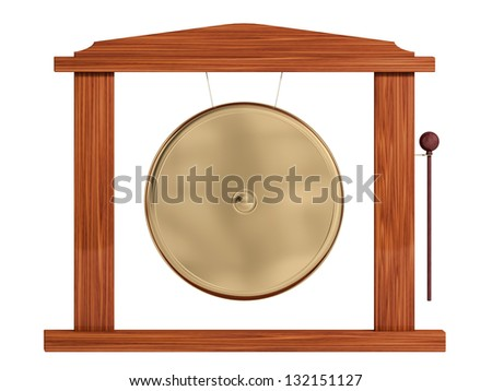 gong on a white background - stock photo