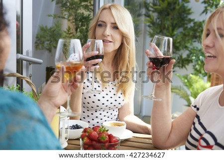 Good afternoon with some friends - stock photo