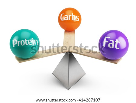 good balanced diet concept - fats carbs and protein - 3d render - stock photo
