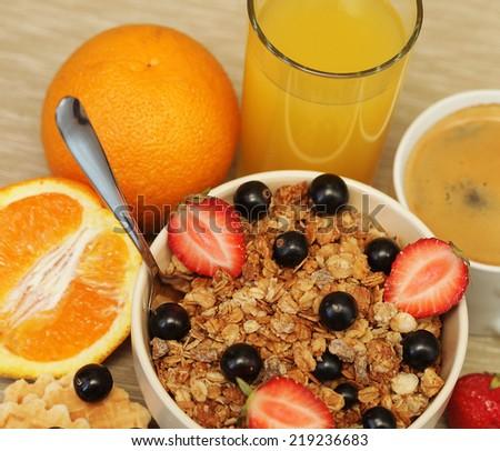 good breakfast for morning, diet food. - stock photo