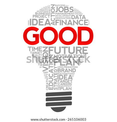 GOOD bulb word cloud, business concept - stock photo