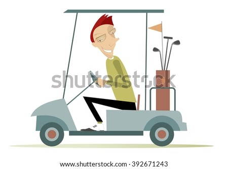 Good day for playing golf. Smiling man is going to play golf in the golf cart  - stock photo