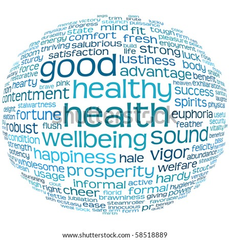 good health and wellbeing tag or word cloud - stock photo