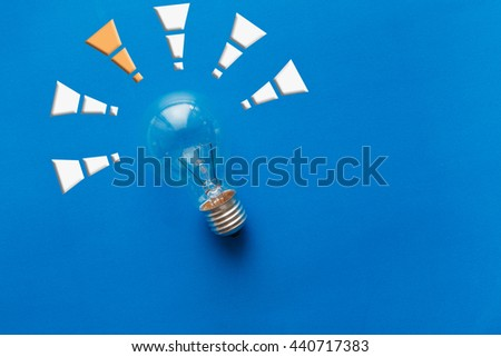 Good idea, just one,Instead, with a light bulb and symbols - stock photo