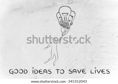 good ideas to save lives: person flying by holding up to lightbulb shaped balloons - stock photo