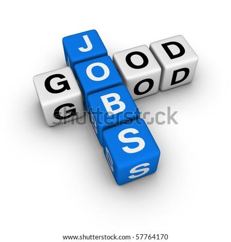 good jobs  (blue-white cubes crossword series) - stock photo