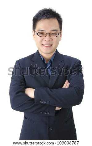Good looking Asian male isolated on white - stock photo