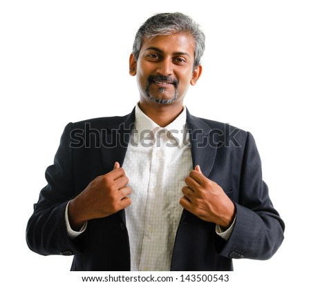 Good looking mature Asian Indian business man with business suit smiling isolated on white background. Portrait of handsome Indian male model. - stock photo