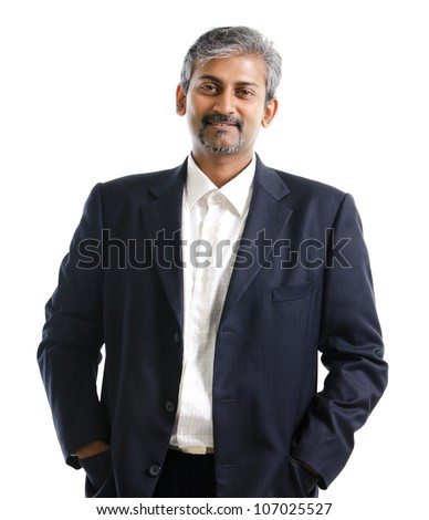 Good looking mature Asian Indian male with business suit isolated on white background - stock photo