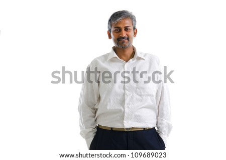 Good looking mature Asian Indian male with formal wear isolated on white background - stock photo