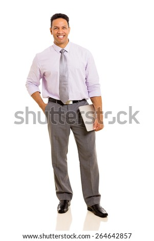 good looking middle aged man holding laptop computer isolated on white - stock photo