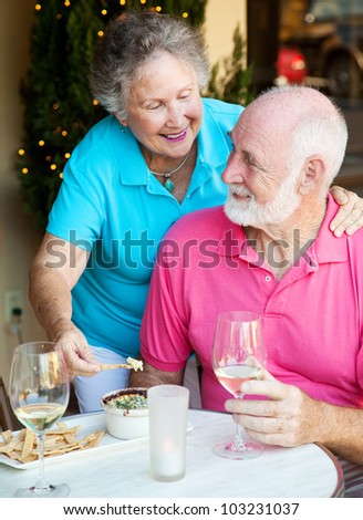 Good looking senior couple enjoying an appetizer and wine at a restaurant. - stock photo
