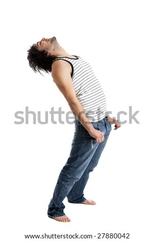 Good looking  young man relaxing over a white background - stock photo