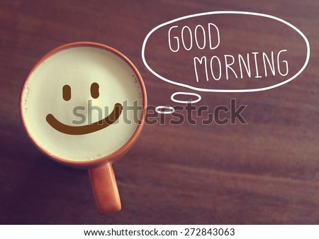 Good morning coffee cup background with vintage filter - stock photo