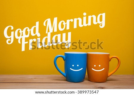 Good morning friday Coffee Cup Concept isolated on yellow background - stock photo