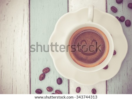 Good Morning weekend with coffee cup on table   - stock photo