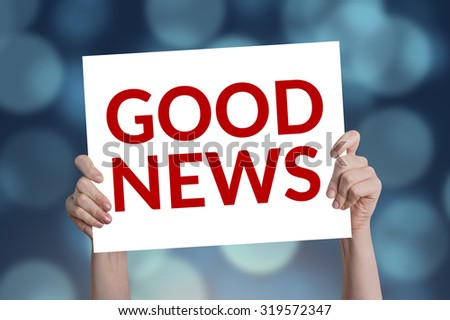 Good News card with bokeh background - stock photo