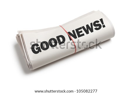 Good News, Newspaper roll with white background - stock photo