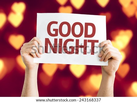 Good Night card with heart bokeh background - stock photo