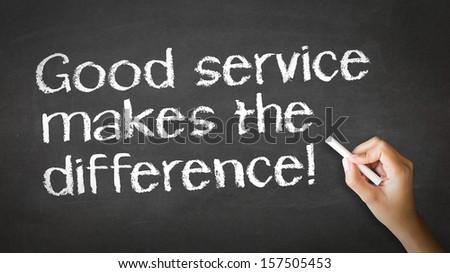 Good Service makes the difference Chalk Illustrati - stock photo